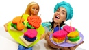 Игры в готовку. Готовлю игрушкам КАНАПЕ!Кукла Барби готовится к вечеринке. Видео для детей