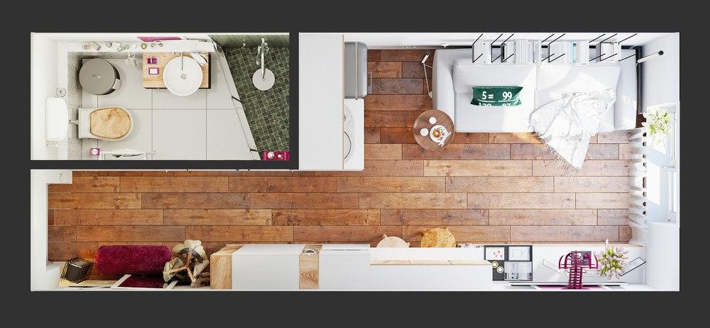 Яркий пример современного дизайна на минимальной площади в 15 кв.