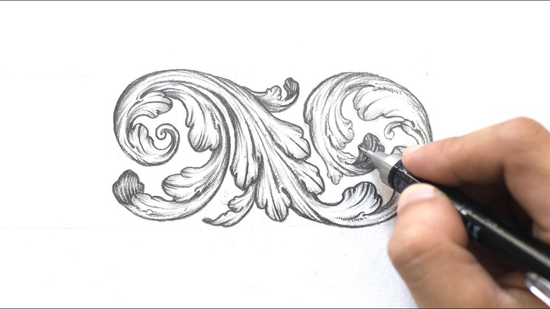 Ornamental Design Acanthus Leaves Step by step Tri Le