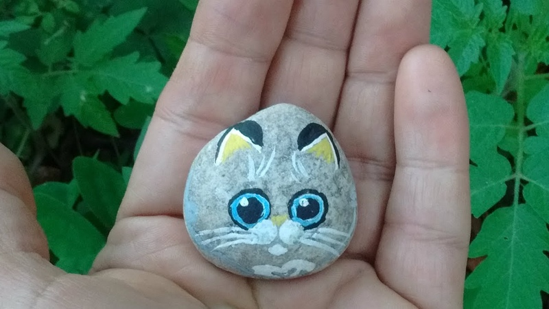 Gatinho Pintura em pedra - Kitten rock painting