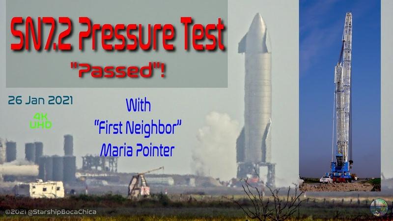 SpaceX Starship Boca Chica 2021 01 25 SN7 2 Smokey Pressure Test and Bluto 4K