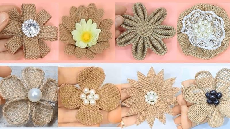 10 Easy burlap flowers tutorial   Jute craft flower