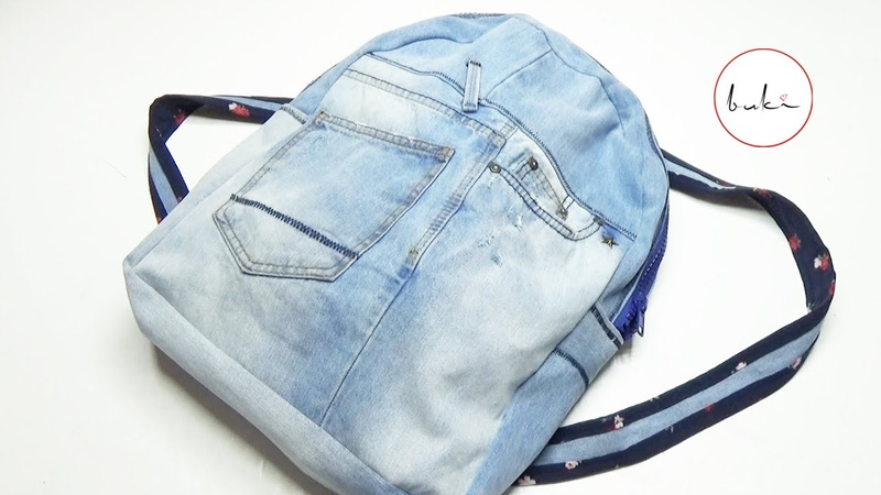 Buki Backpack with Jeans Making DIY Jeans Backpack Tutorial Old Jeans Recycle Idea Backpack