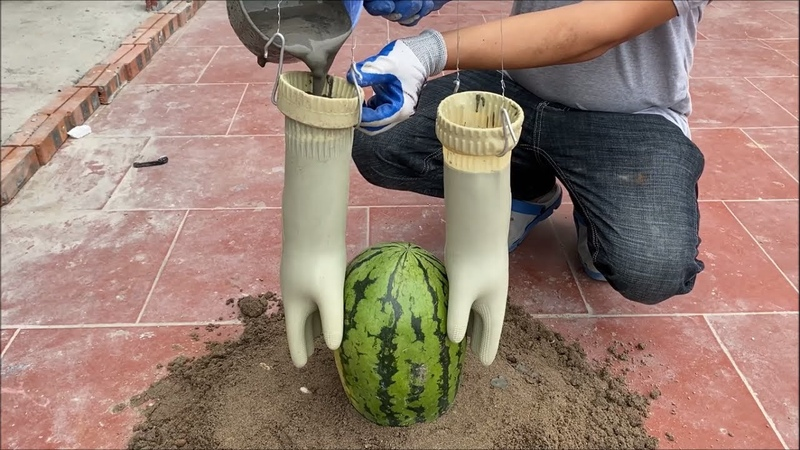 Awesome Cement Craft Tips Flower pots Making Technique with Gloves Watermelon Towels and Cement