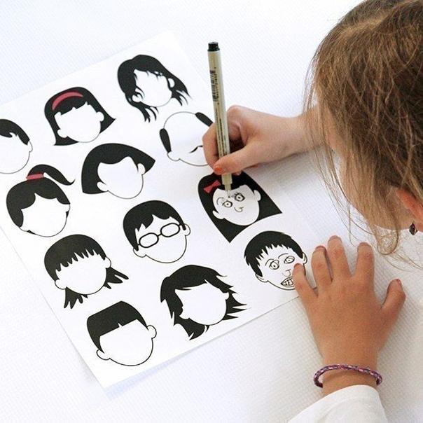 ДОРИСУЙ «ПУСТЫЕ ЛИЦА» Данное занятие развивает у ребенка навыки рисования, наблюдательность, пространственное мышление. Сохраните и распечатайте изображения или нарисуйте их сами. Попросите