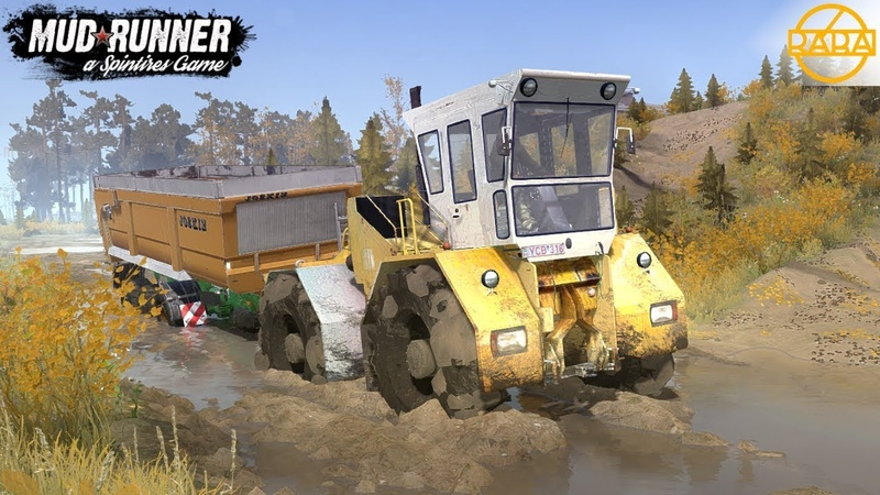 Spintires MudRunner RABA 180 TRACTOR Stuck In The Mud With A Loaded Trailer