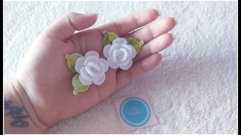 Flores a crochet/ mini rosas a Crochet/ Aplicación/ paso a paso