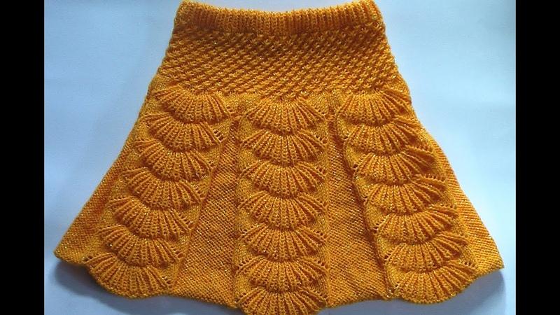 Юбка с бантовыми складками Вязание на спицах Skirt with pleats spokes