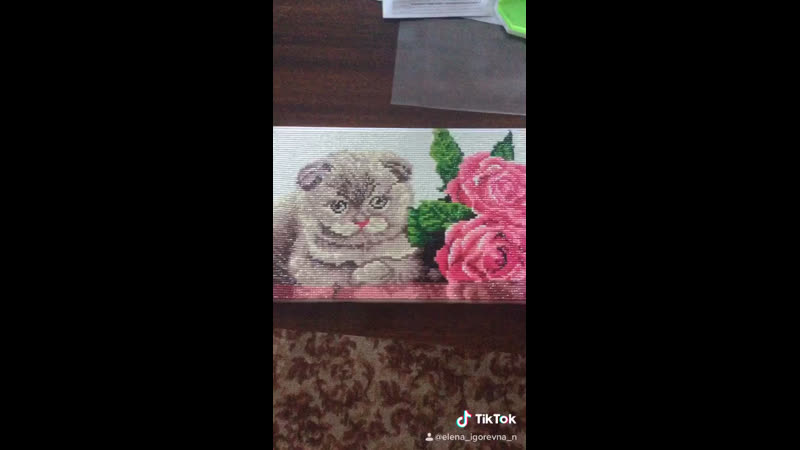 Алмазная мозаика Котёнок с розами Размер 20 30 см