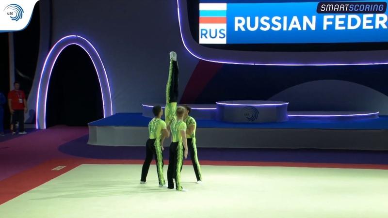 Men's group Russia 2019 Acro European silver medallists dynamic