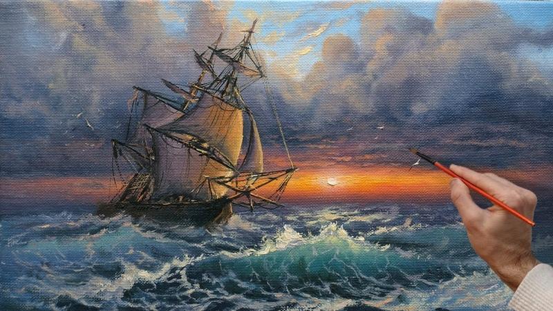 Sunset Seascape Oil Painting Art Морской пейзаж Живопись маслом Ölgemälde Kunst Pintura al óleo