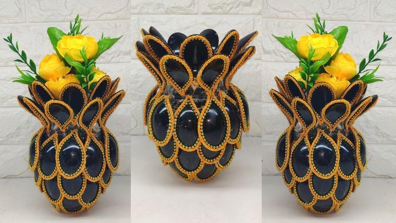 Ide kreatif vas bunga dari sendok plastik How To Make Flower vase Plastic Spoon Craft Ideas