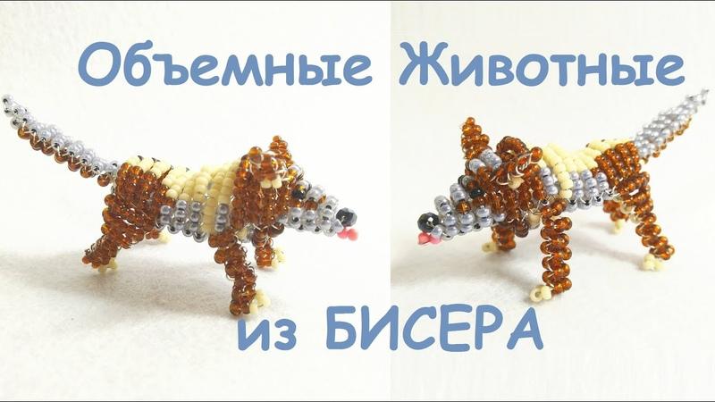 Объемный ВОЛК или СОБАКА из бисера Своими Руками DIY dog or wolf from beadsTuturial