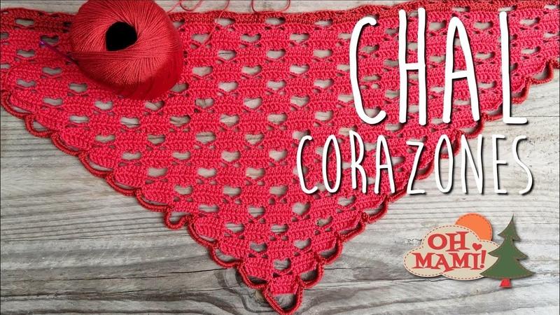 CHAL CORAZONES A CROCHET ( HEARTS SHAWL)