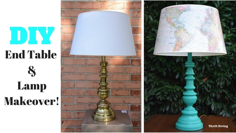DIY End Table and Lamp Makeover Furniture Makeover Thrift Diving