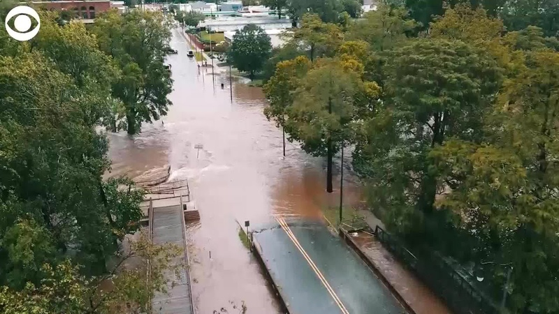 WEB EXTRA Drone Video of Fayetteville North Carolina Flooding