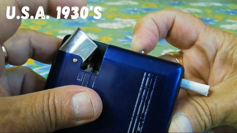Old vintage MAGIC CASE cigarette case with lighter and cigarette dispenser Старый портсигар