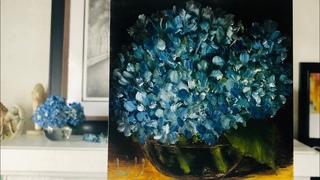 Blue Hydrangeas still life oil painting tutorial, episode 13