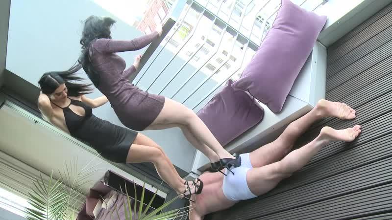 Lady Blackdiamoond & Lady Chanel in Dancing on the slave [femdom trampling fetish]