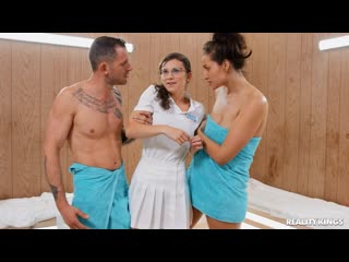 Bella Rolland and Ellie Eilish - Towel Girl 3 [All Sex, Hardcore, Blowjob, Sauna, Threesome]