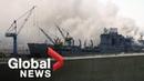Fire breaks out on USS Bonhomme Richard docked in San Diego with 200 crew on board