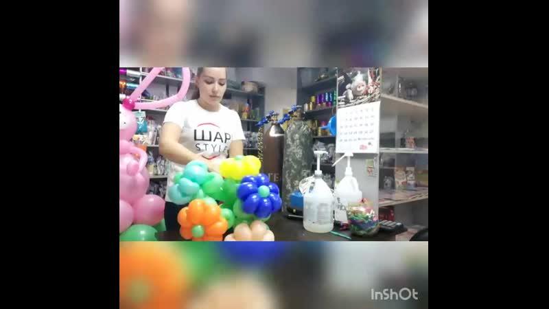 Процесс создания розового зайчика с букетом разноцветных ромашек 🐇🌼