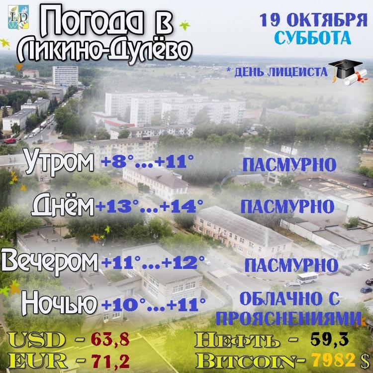Погода в Ликино-Дулёво на 19 октября.  *