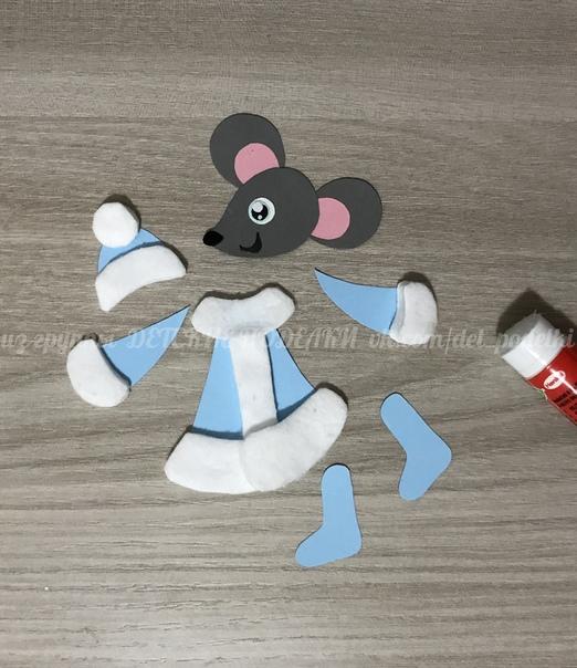 Зимние новогодние поделки «Мышка-снегурочка» Символ 2020 года.
