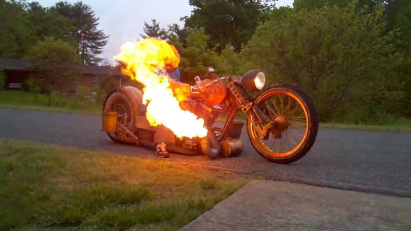 Ratbike Chopper Motorcycle Flamethrower Redneck Limo From AHB