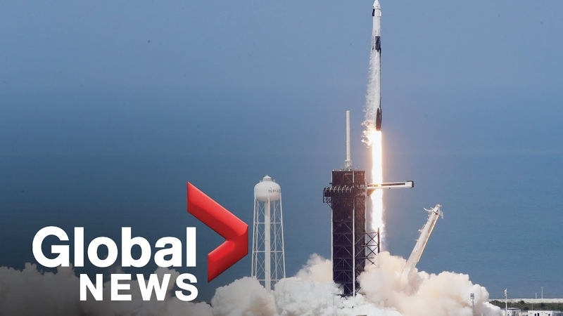 NASA SpaceX Сrew Dragon first human flight launch manned spacecraft in historic mission