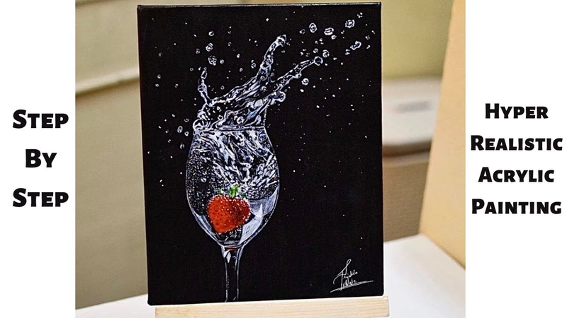 Strawberry in Wine STEP by STEP Acrylic Painting Tutorial CBF Presents
