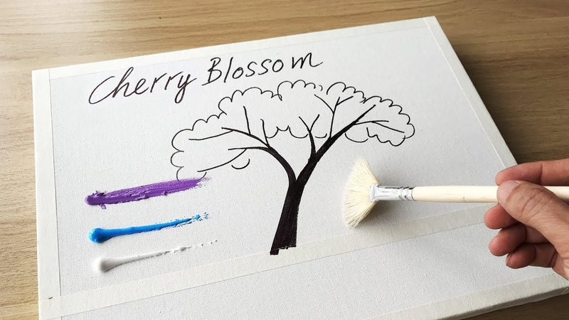 Daily Challenge 23 Acrylic Swab Art Couple in Love under Cherry Blossom Tree