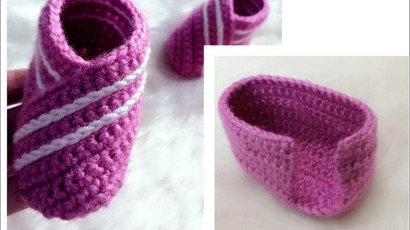 حذاء كروشيه ولادي بناتي سهل crochet slipper English subtitles