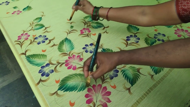 Fabric painting pink violet dark green light green brown orange colour combination saree design