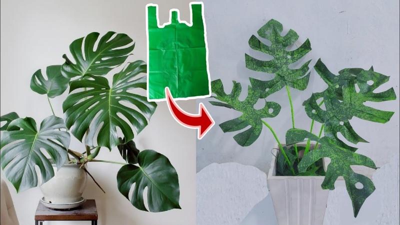 DIY Cara Membuat Tanaman Monstera dari Plastik Kresek How to make Monstera Plant from Plastic Bag